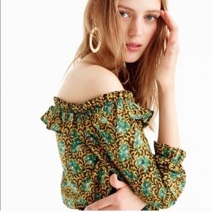 J. Crew Tops - J.Crew Green Elephant Jungle Ratti Ruffle Blouse